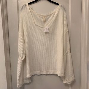 NWT We the Free White Long Sleeve Sweater Blouse